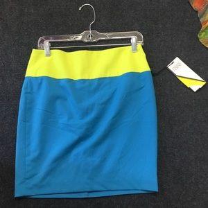 Color block blue & lemon skirt